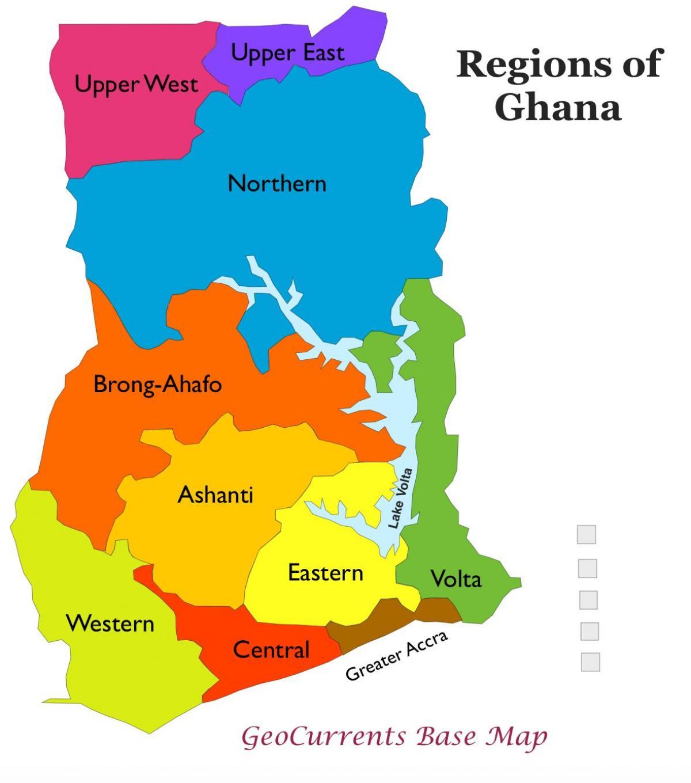 Ghana Landkarte mit Regionen - Karte von ghana mit Regionen ...